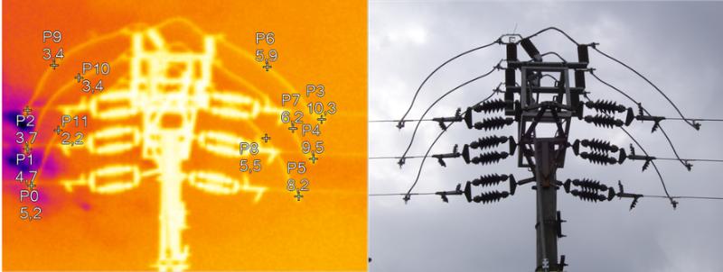 Termografický snímok úsekového vypínača.