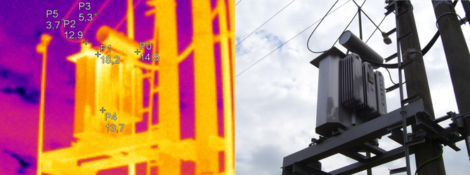 Termografický snímok transformátora.